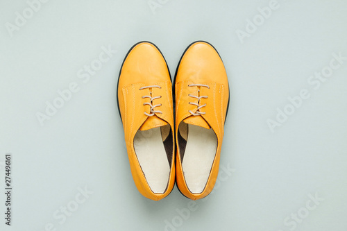 Stylish female spring or autumn shoes in various colors Canvas Print