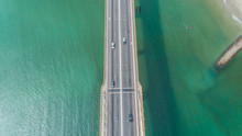 Aerial View Of Car Driving On ...