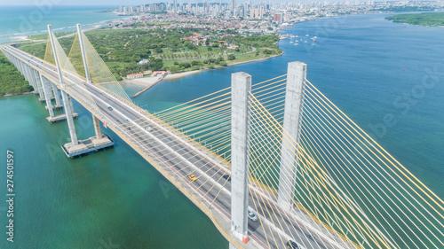 Photo sur Toile Brésil Natal / Rio Grande do Norte / Brazil - Circa May 2019: Aerial view of the bridge Newton Navarro of the city of Natal, RN.