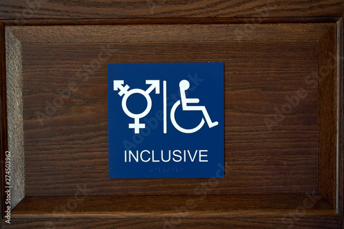 Photo ADA Compliant Gender Inclusive Symbol Restroom Wall Sign with Wheelchair Symbol