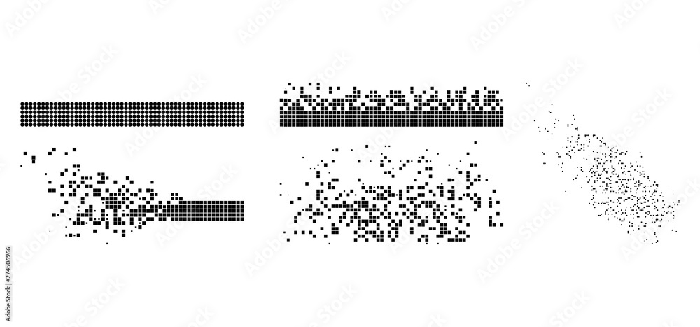 Fototapeta Vector dot integration and dissolving flat abstraction. Vector style is a flat illustration of dot integration and dissolving on a white background. Isolated design elements constructed from dots,
