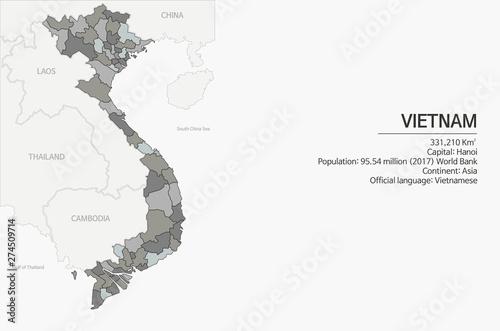 Fotografía  vector map of Vietnam