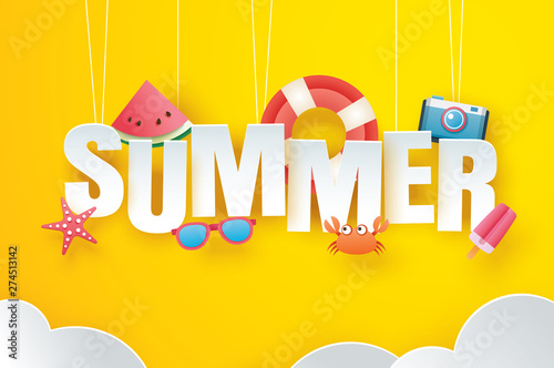 Canvas Prints Textures Hello summer with decoration origami hanging on yellow sky background. Paper art and craft style. Vector illustration of life ring, ice cream, camera, watermelon, sunglasses.