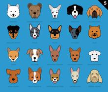 Dog Faces Stroke Icon Cartoon 5 Samoyed Set
