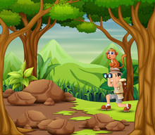The Explorer Man With Monkey I...