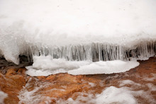 Details Below Arethusa Falls Waterfall In The White Mountains Of New Hampshire In Winter  Crawford Notch State Park.