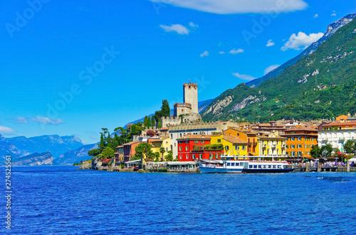 Obraz na plátně Malcesine at the lakeside of Lake Garda in summer