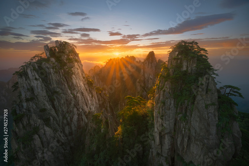 Traveling in China Huangshan National Park, beautiful Chinese landscape