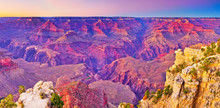 The Beautiful View Of Grand Canyon From The South Rim Of Grand Canyon National Park At Dusk.