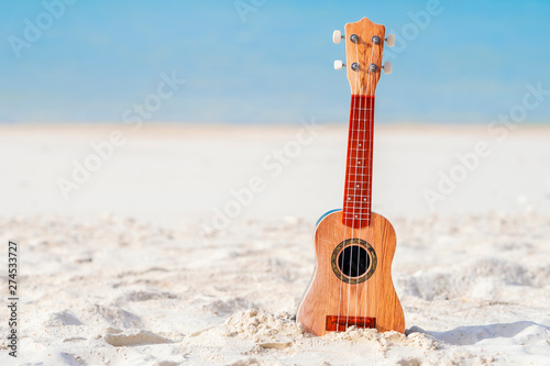 Music concept. guitar is placed on the beach isolate on blue sea background. - 274533727