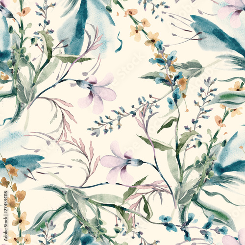 Fotografiet Field Flowers Seamless Pattern
