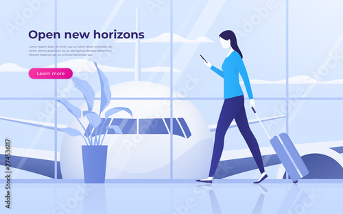 Obraz Vector illustration of a traveling young woman with mobile phone and suitcase at the airport terminal - fototapety do salonu