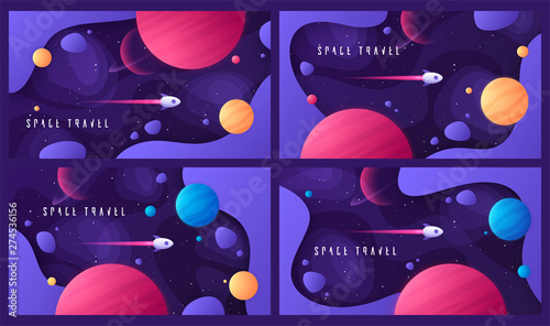 Obraz Set of vector illustration on the topic of outer space, interstellar travels, universe and distant galaxies - fototapety do salonu