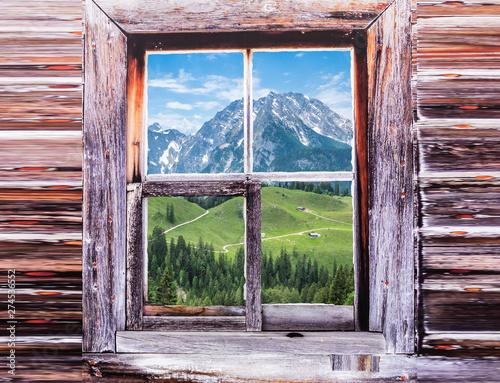 Blick auf den Watzmann von einer Berghütte Fototapet
