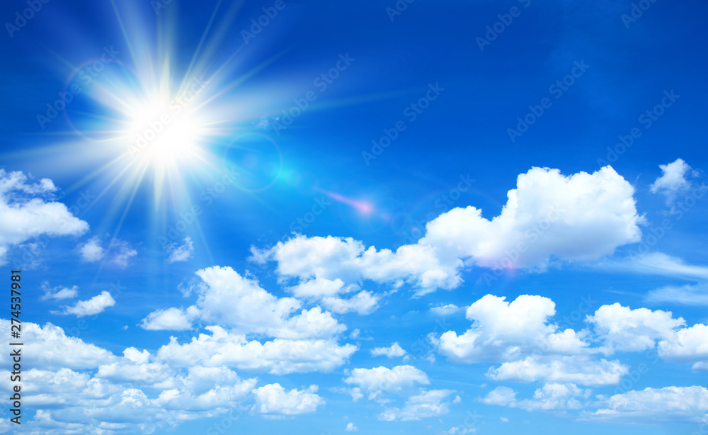 Fototapety, obrazy: Sunny background, blue sky with clouds and sun