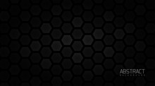 Abstract Black Background With Honeycomb Textured. Minimal Geometric Background, Abstract Background With Dynamic Shapes