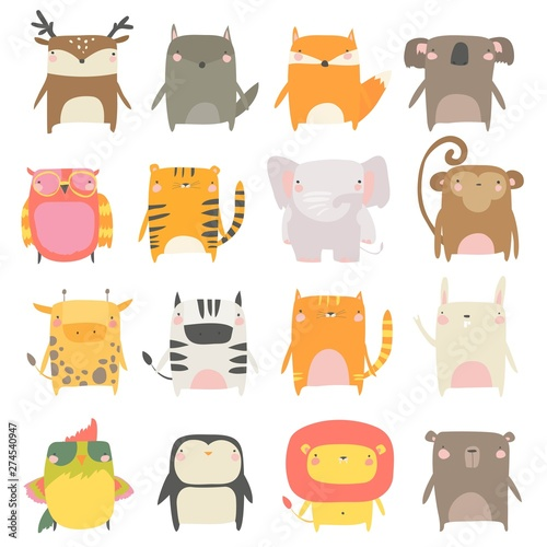 Set of cute animals on white background