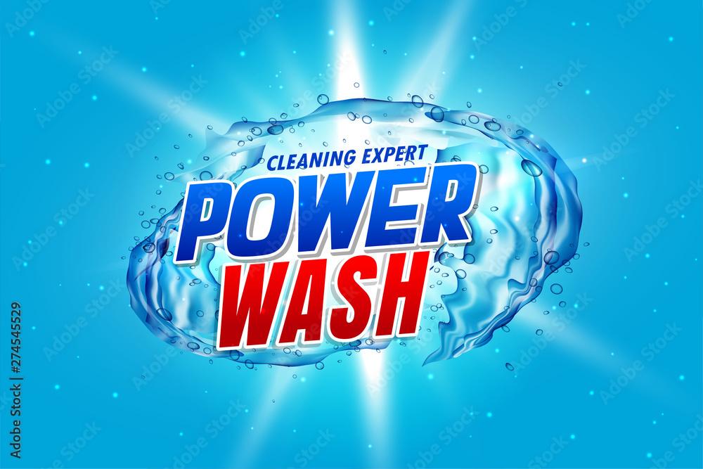 Fototapeta power wash detergent packaging concept with water splash
