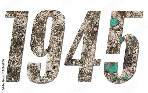 Fotografia  Year 1945 with old concrete wall on white background