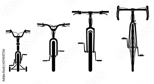 Family Bicycles Front View Canvas Print