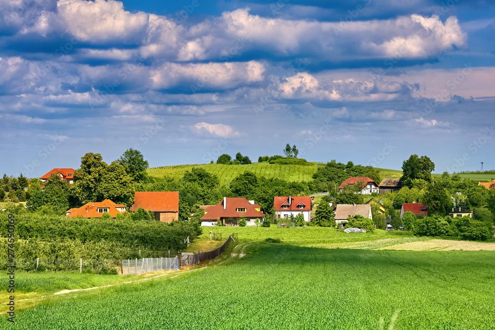 Fototapeta Beautiful village landscape in Southern Poland near Trzebnica