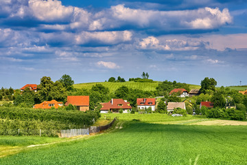 Beautiful village landscape in Southern Poland near Trzebnica