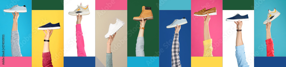 Fototapety, obrazy: Set of people holding different stylish shoes on color background, closeup