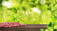Empty Wooden Table With Checkered Napkin Outdoors, Space For Design. Summer Picnic