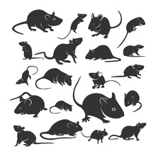 Set Of Mouse Design Vector. Silhouette Of Mouse. Vector Illustration