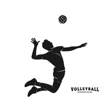 Volleyball Player Vector. Silhouette Of Volleyball Player. Vector Illustration