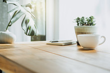 Closeup White Cup Of Coffee With Small Trees And Green Leaf In Vase On Wooden Table