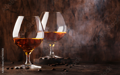 Poster de jardin Bar Armagnac, French grape brandy, strong alcoholic drink. Still life in vintage style, selective focus