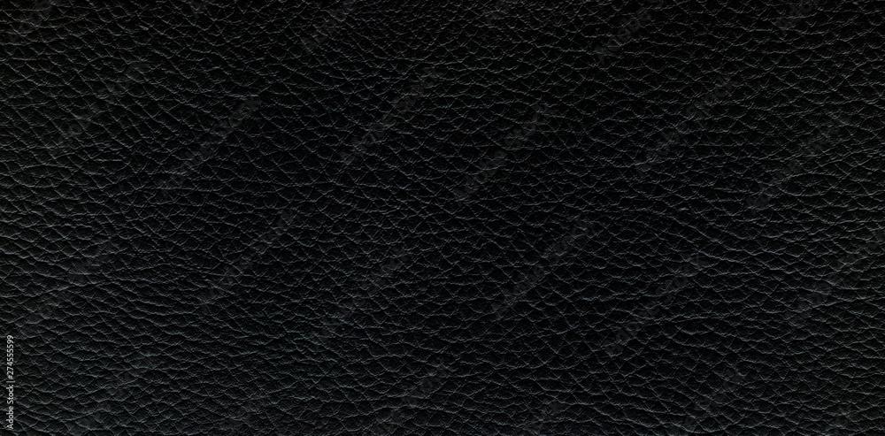 Fototapeta Black leather background. Panorama.