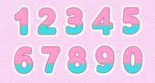 Set Of Numbers In Lol Doll Style. Baby Design. Bright Pink, Blue Colors. Polka Dot Pattern