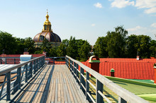 The Grand Ducal Burial Vault In The Peter And Paul Fortress. St Petersburg, Russia. Summer City View