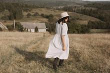 Stylish Girl In Linen Dress An...
