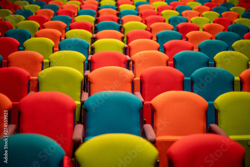 rows of empty colorful seats