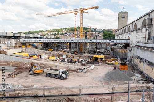 Foto op Plexiglas Stuttgart 21 Construction area, Stuttgart, Baden-Wuerttemberg, Germany - 06.21.2019