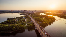 Panoramic View Of Moscow At Sunset, Russia. Scenery Of Moskva River With Bays In Moscow Northwest. Beautiful Landscape Of Moscow In Summer Evening. Moscow Skyline With Stroginsky Bridge In Sun Light.