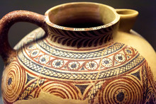 Ancient Greek Vase, Greece. Painted Archeological Pottery. Ceramic With Ornament From Excavations In Mycenae.