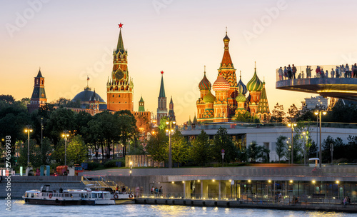 Moscow Kremlin and St Basil`s Cathedral at sunset, Russia Wallpaper Mural