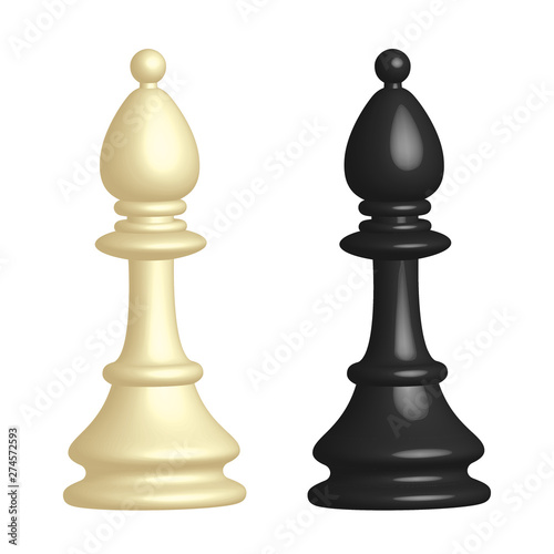 Obraz na plátne White and black chess piece Bishop in 3D style on white background