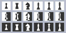 Set Of White And Black Chess Pieces Icons In Flat Style On The White And Black Background In Squares. Vector Illustration