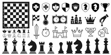 Set Of Black Chess Pieces Icon...