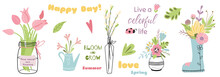 Flower Elements Set Of Mason Jars With Flower Bouquets Cute Hand Drawn Color Vector Quotes Phrases