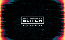 Glitch Frame On Dark Backdrop. Color Distortions And Pixel Noise. Cyberpunk Template With Distorted Lines. Futuristic Banner With Dynamic Elements. Future Design. Vector Illustration