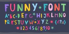 Children S Font. Funny Kid Car...