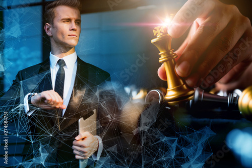 Fotografía  caucasian businessman investor with golden chess board game strategy ideas conce