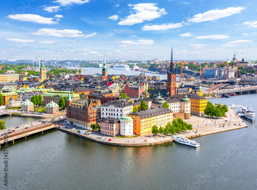 Keuken foto achterwand Stockholm Aerial view of Stockholm old town (Gamla Stan) from City Hall top, Sweden