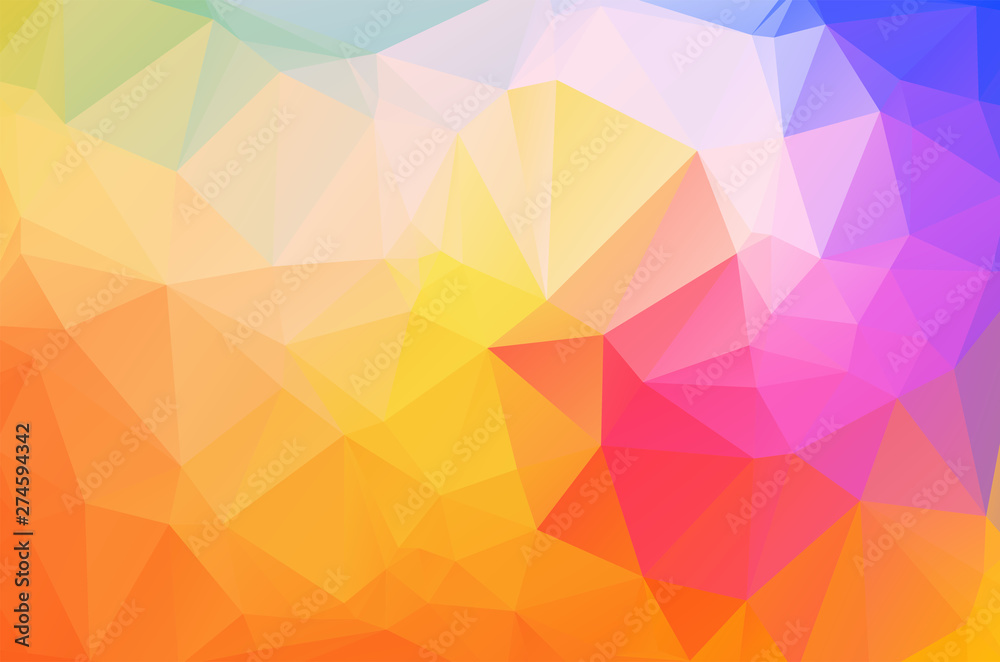 Fototapeta Light colorful rainbow colors Low poly crystal background. Polygon design pattern. Low poly vector illustration, low polygon background.